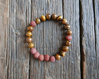 Tiger's Eye and Burgundy Lava Rocks 8mm - Mala Beads - Yogi - Clear mind and Grounding