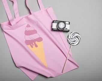 Pink Shopping Bag, Strawberry Ice cream Screen Printed Tote bag, Bag for Life