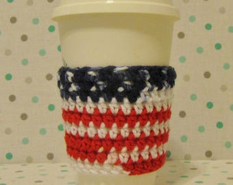 Flag Cup Cozy, Crochet Sleeve, Drink Holder, Hot or Cold Beverage, Patriotic, 4th of July, America, Birthday Gift, Cup Warmer, Party Favor