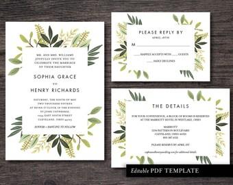 Leaves Wedding Invitation Suite Template | PDF Editable Template | Editable Text | Leaves Wedding Invite | Instant Download |  Leaves Invite
