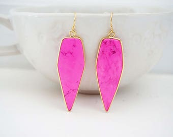 Pink Turquoise Pendant Statement Earrings
