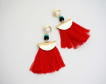 Gold and Red Tassel Post Stud Tribal Statement Earrings