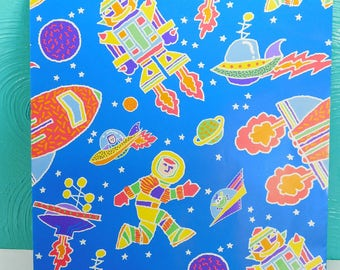 1 Sheet Vintage Outer Space Wrapping Paper, Astronaut Wrapping Paper, Current Inc Gift Wrap, Children's Wrapping Paper