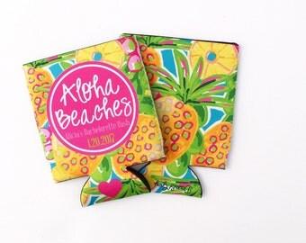Preppy Pineapple Aloha Beaches Bachelorette Party/Wedding Drink Huggers/Can Insulators