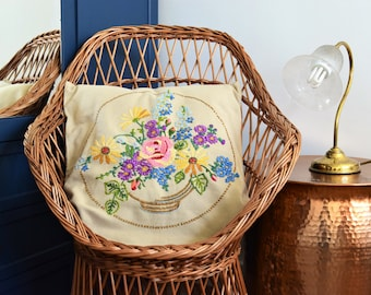 Vintage 1970s hand embroidered floral cushion cover, French boho romantic country home decor, gifts for vintage lovers, housewarming gift