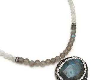 pave labradorite & beaded moonstone necklace, beaded labradorite drop necklace, labradorite and moonstone necklace, pave labradorite drop