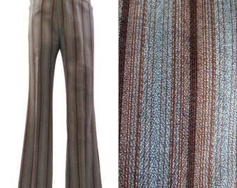 Vintage 60s Pants Striped Mens Mod Flared Grey Brown Trousers 32