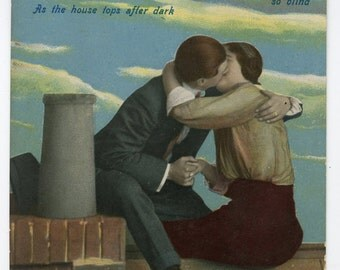 1900s Risque Poem Romantic Postcard Antique Vintage Victorian Edwardian Glamour Kissing Lovers Romance Erotic Kiss