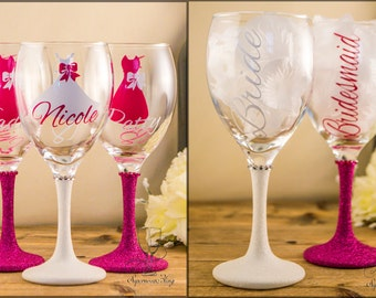 2 Glitter WINE - Dress Bow Title Name Personalised wedding glass glasses bridesmaid gift  Mother of the Bride, Groom Bridal Bridesmaids