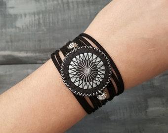 Black Wrap Bracelet Leather Wrap Bracelet Boho Cuff Bracelet Embroidered Mandala Bracelet Bohemian Jewelry Suede Cord Bracelet Boho Chic