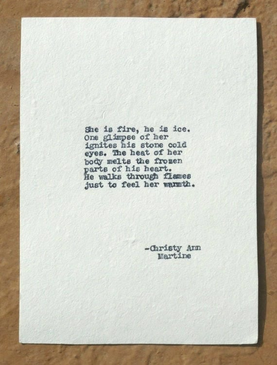 Romantic Gifts for Him or Her - Typewriter Poetry - Love Poems - She Is Fire Poem - Poetry by Christy Ann Martine