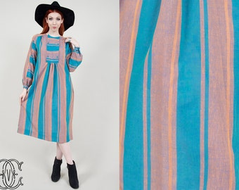 60s tent dress vintage 1960s tent dress vintage boho bohemian hippie orange and turquoise striped tent dress