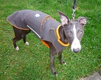 Greyhound Winter Dog Coat - Dog Jacket with underbelly protection - Custom Dog Raincoat - Waterproof / Fleece - Custom made for your dog