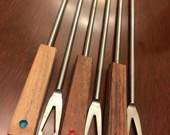 Vintage Fondue Forks, Teakwood stainless steel with Color Dots, Set of fondue forks