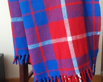 Tartan Blanket-Vintage Red, White & Blue Plaid Faribo Throw Or Stadium Blanket, Classic Acrylic Tartan Blanket, Made In The USA.