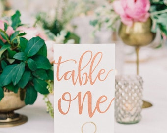 Veronique Rose Gold Foil Table Numbers - Rose Gold Table Number Cards - Two Sided - Wedding Table Numbers with Rose Gold Foil #TN106RG