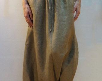 Loose Linen Pants/Linen Harem Pants/Wide Leg Pants/Skirt Pants/Beige Pants/Fashion Pants/Casual Pants/F1026