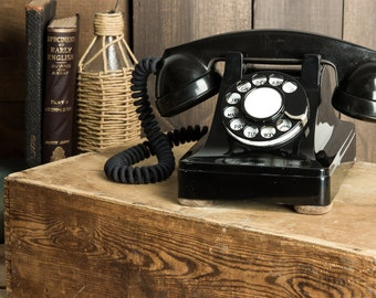 Fully Working and Completely Re-furbished Vintage Rotary Dial Phone with DTMF converter - Model 302 - 1940's - Black