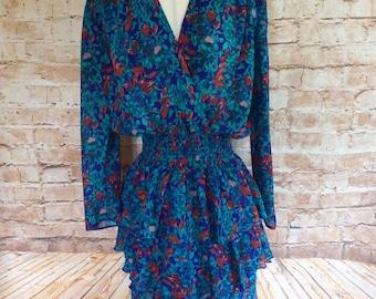 Vintage Berkertex Dress Tiered Chiffon Floral Green Blue Bohemian Wedding Party Occasion Disco 10-12 c 1980s