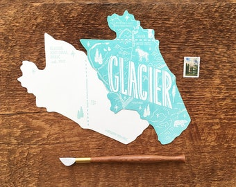 Glacier Postcard, Glacier National Park, Die Cut Letterpress National Park Postcard