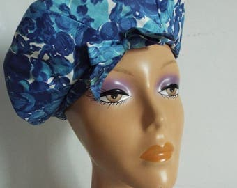 Vintage Ladies Hat  1960's Blue Mix Sateen Cotton Beret with bow Front
