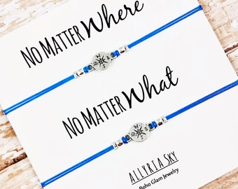 """Set of Two Compass Friendship Bracelets with """"No Matter Where No Matter What"""" Card 
