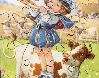 Vintage 20 Piece Wooden Jigsaw Puzzle Little Boy Blue
