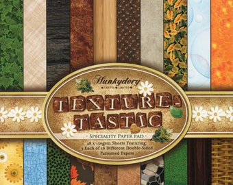 TEXTURE-TASTIC Paper Pad by HUNKYDORY ~ 48 Double Sided A4 Sheets for Card Making, Scrapbooking and Paper Crafts, Brand New