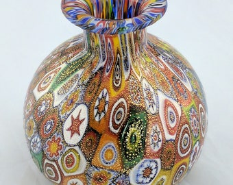 Murano glass bud vase, millefiori and gold foil, 3 inches high