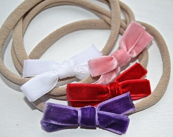 Nylon One Size Fits All Velvet Bow Headband (choose from 4 colors!)