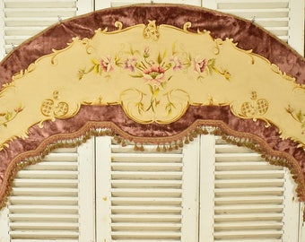 Exquisite Antique French Hand Embroidered Silk & Velvet Pelmet, 19th C