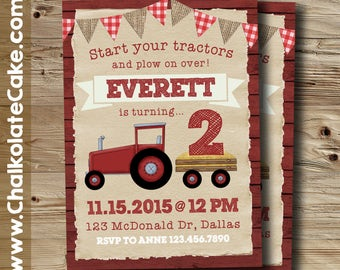 RED TRACTOR INVITATION, Barnyard Birthday Invitation, Farm Party, Start Your Tractors, Printable
