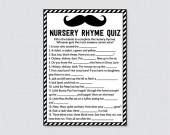 Black and White Mustache Baby Shower Nursery Rhyme Quiz Baby Shower Game - Printable Instant Download - Black Mustache Baby Game 0002-K