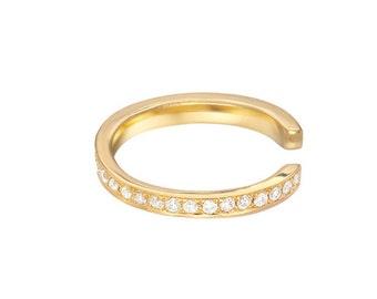 Diamond ear cuff, pave diamond , solid 14k gold