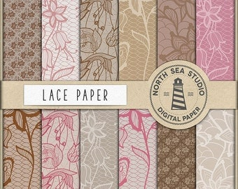 Lace Digital Paper, Brown, Beige And Pink Lace Patterns, Wedding Invitation Paper, Wedding Decorations, Coupon Code: BUY7FOR10