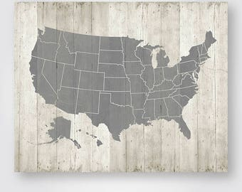 United States Map Printable Download Large Us Usa Map Poster Wood Rustic Wall Art Decor Jpg