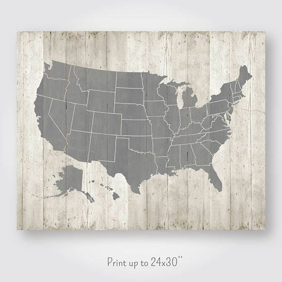 United States Map Printable Download Large Us Usa Map Poster Wood Rustic Wall Art Decor Jpg Printable Digital Print Instant Download Pdf Jpg