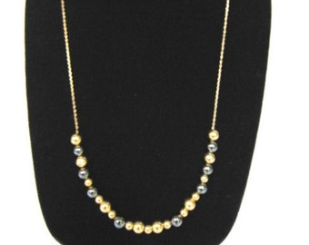 Vintage Estate 14K Yellow Gold Chain Necklace W/ Gold Balls, 10.0g E992