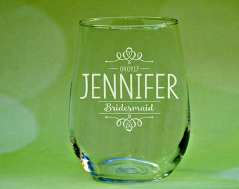 Bridesmaid Gifts, Personalized Bridesmaid Wine Glasses, Bridesmaid Proposal, Gift for Bridesmaids, Bridal Shower Favors, Maid of Honor Gift