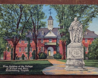 William and Mary, College, Vintage Postcard,  VA, Williamsburg, Virginia, W & M, Retro Campus Scene, Wren Building, Historic Landmark