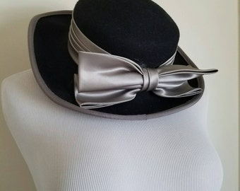 Vintage Black Wool Felt Wide Brim Fedora Tilt Hat with Satin Oversized Bow and Satin Band Trim / David M Michael Howard