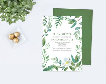 BRIDAL SHOWER INVITATION Greenery, Bridal Shower, Bridal Shower Invite, Shower Invitation Template pdf Printable Invitation, Customizable