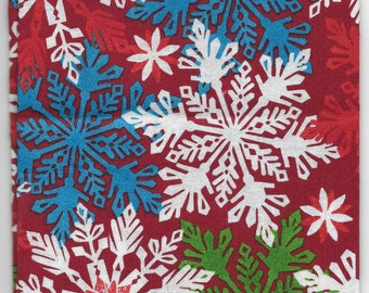New Multi Color Snowflakes on Red 100% cotton fabric by the Fat Quarter