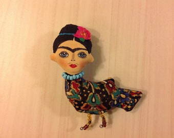 Frida brooch bird textile brooch wearable art Icon Brooch  fabric brooch Frida kahlo pins mexican art casual jewelry hand painted brooch