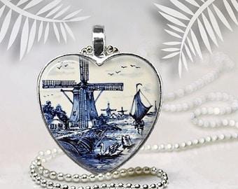 Delft Blue Windmill Necklace, Antique Delft Design Pendant, Dutch Pottery, , Blue and White Jewelry, Delph China Design Pendant, Collectors