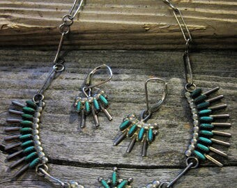 ca. 1940-50 ZUNI PETIT POINT turquoise necklace & earring set.  Gorgeous delicate work, excellent condition, signed in the artist's hand
