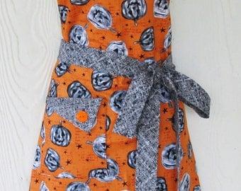 Halloween Jack O' Lanterns Apron, READY TO SHIP, Orange and Gray, Vintage Style, Handmade Halloween, KitschNStyle