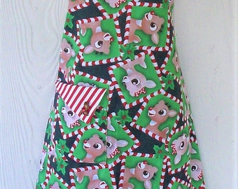 Retro Christmas Apron, Peppermint Candy Cane Stripes, Rudolph and Clarice, Reindeer, KitschNStyle