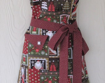 Christmas Apron, Vintage Santa Motif, Vintage Christmas Patchwork, Retro Style, KitschNStyle