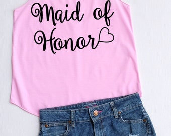 Flock Maid of honor - Racer back,Maid of honor shirt,Maid of honor tank top,bridesmaid shirt,Team bride tank top,Bachelorette Party Tank Top